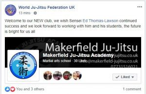Makerfield Ju-Jitsu and WJJF Facebook announcement